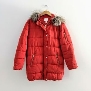 NWT Forever 21 Bright Red Puffer Coat Parka